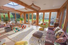 Light pours into this glazed oak framed garden room extension - Oakmasters Garden Room Lighting, Glass Extension, Extension Ideas, Oak Framed Extensions, Garden Room Extensions, Glass Room, Style Lounge, Arts And Crafts House, Sunrooms