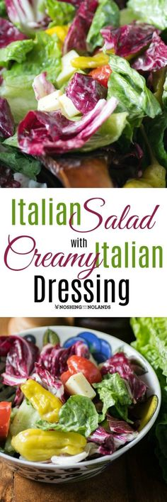Italian Salad with Creamy Italian Dressing by Noshing With The Nolands is loaded with the delectable flavors of Italy. It would be magnificent with any Italian meal, BBQ or potluck!