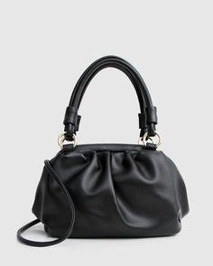 Just Because Leather Shoulder Bag - Black - Belle & Bloom Leather Crossbody Bag, Leather Bag, Leather Shoulder Bag, Shoulder Strap, Frame Bag, Parisian Chic, Tote Handbags, Soft Leather, Bucket Bag