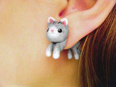 Cute Kitten Fake Gauges Earrings by AllieCharms on Etsy, $12.50