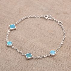Blue Green Round Square Opal Bracelet 925 Sterling Silver 7 - 7.5 inch by Anderson-Beattie.com