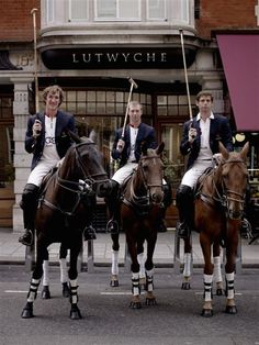 Polo Boys - England Polo players, Captain Luke Tomlinson, James Beim and Malcolm Borwick, wearing tailored 'Made in England' Lutwyche blazers over their England whites.