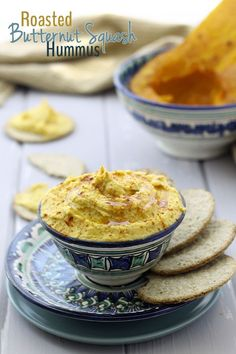 Roasted Butternut Squash Hummus - the perfect fall dip! // thehealthymaven.com