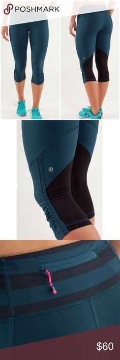 Lululemon Run For Your Life Alberta Lake Lululemon Run For Your Life Alberta Lake Capri ..these are a deep teal and black. Quick drying mesh panels placed behind the knees keep your knees from sweating. Great for runners. Perfect condition. Size 4. NO OFFERSLOWEST LISTED BUY IT NOW OPTION ONLY I ONLY TRADE FOR CASH  lululemon athletica Pants Capris