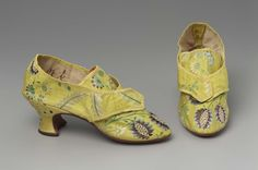 Buckle Shoes, 1770, Made of silk, linen, and leather