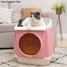 Extra Large Fully Enclosed Folding Cat Litter Box Pet Toilet Anti-splash Deodorant sold by Talis. Shop more products from Talis on Storenvy, the home of independent small businesses all over the world. Diy Litter Box, Hidden Litter Boxes, Cleaning Litter Box, Litter Box Enclosure, Pet Care Tips, Dog Care, Scratching Post, Folding Doors, Homemade Dog Food