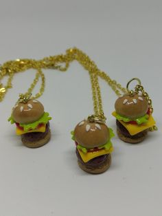 Cheeseburger necklace by DeckedOutJewelry on Etsy