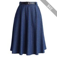 Chicwish Belted Denim Midi Skirt