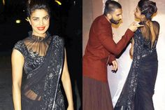 There's Something Strongly Magical About Priyanka Chopra's Saree — PHOTOS Lengha Blouse Designs, Saree Jacket Designs, Netted Blouse Designs, Fancy Blouse Designs, Sleeves Designs For Dresses, Dress Neck Designs, Stylish Blouse Design, Bastilla, Designer Blouse Patterns