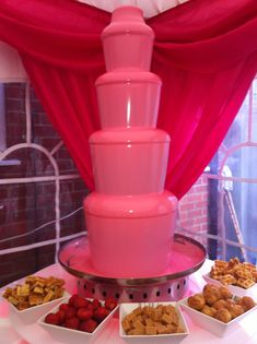pink chocolate fountain                                                                                                                                                      More