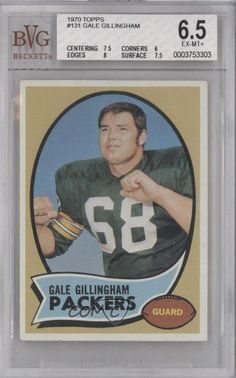 Gale Gillingham RC (Rookie Card) BVG GRADED 6.5 Green Bay Packers (Football Card) 1970 Topps #131 by Topps. $9.00. 1970 Topps #131 - Gale Gillingham RC (Rookie Card) BVG GRADED 6.5