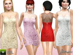 Contrast Sheer Lace Bodycon Dress by Harmonia - Sims 3 Downloads CC Caboodle