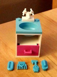 LEGO Custom Furniture Belville Modular House Interior -  BATHROOM SINK White / Sky Blue Basin / Dark Pink Drawer / WHITE Faucet + ACCESSORIES! Sky Blue Soap, Comb, Spray Bottle, and Brush! #LEGO #LEGOModular #LEGOFurniture #LEGOBathroom #LEGOHouse #LEGOFriends #LEGOBelville #LEGOInterior #LEGOBuilding #LEGOCity #LEGOMOC #LEGOAccesories #LEGOBath