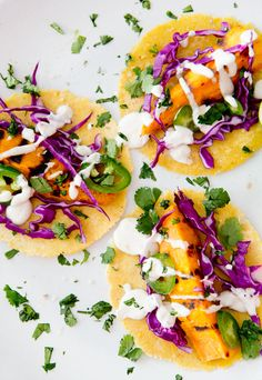 Grilled sweet potato tacos with lime creme.