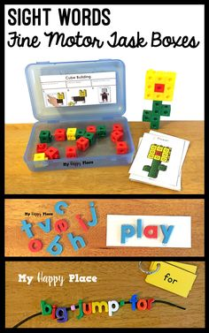 Perfect for morning work tubs, early finishers, or busy boxes these Sight Words Fine Motor Task Boxes allow students to have fun while strengthening their literacy and fine motor skills. Activities include letter beads, snap cubes, pattern blocks, magnetic letters, playdough, and more!