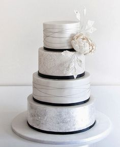 Metallic Silver & White Cake