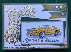SU: Geared Up Garage/ Garage Gears Thinlits - 2019 Occ. Birthday Cards For Boys, Masculine Birthday Cards, Bday Cards, Masculine Cards, Male Birthday, Paper Cards, Men's Cards, Greeting Cards, Stamping Up Cards