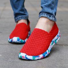 Women Sandals Woven Shoes Flat Shoes Casual Shoes Elastic Band Monochrome Shoes