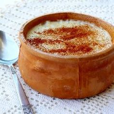 Rizogalo - Greek rice pudding. Not too sweet. Best served cold with cinnamon!