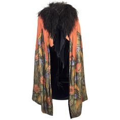 1920s Burnt Orange Silk Velvet Cape with Floral Lame and Ostrich Feathers | From a collection of rare vintage coats and outerwear at https://www.1stdibs.com/fashion/clothing/coats-outerwear/