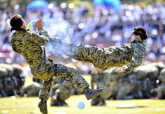 South Korean Special Army soldiers perform martial arts during a ceremony to mark the 64th Korea Armed Forces Day.