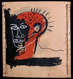 Jean-Michel Basquiat - Untitled, 1982, acrylic and enamel on blanket mounted on tied wood supports with twine
