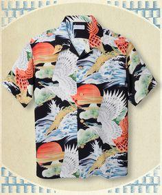 Style No. SS36656 (Special Edition) 「HAWK LIGHTED BY THE RISING SUN」 119) BLACK Vintage Hawaiian Shirts, Vintage Shirts, Japan Fashion, Mens Fashion, Kimono Shirt, Bowling Shirts, Stylish Boys, Aloha Shirt, Tropical Pattern