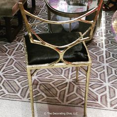 Miami-based NIBA Home's striking metal chair in brass finish with hide cushion. Butterfly Chair, Metal Chairs, Dining Chairs, Cushions, America, Furniture, Diva, Miami, Brass