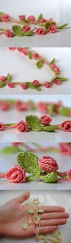 Цветы шаршик-колье (крючком).
