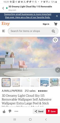 Wallpaper Art, Wall Murals, Art Deco, How To Remove, Clouds, Business, Etsy, Shopping, Business Illustration