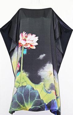 Lotus Flower Pure Silk Full Length Kaftan by Molly by MollyKaftans, $199.00