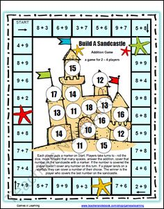 Free Addition Games for Fact Fluency: Addition Math Board Games - Please enjoy the Build A Sandcastle Addition Board Game by Games 4 Learning. This math board game p - Free Math Games, Math Board Games, Math Boards, Fun Games, Logic Games, Dice Games, Math Worksheets, Math Resources, Math Activities
