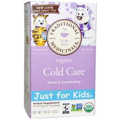 Traditional Medicinals, Just for Kids, Organic Cold Care, Herbal Tea, Caffeine Free, 18 Tea Bags, .96 oz (27 g)