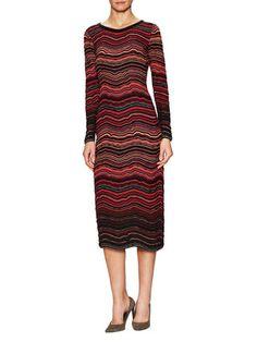 M Missoni Knit Striped Crewneck Midi Dress