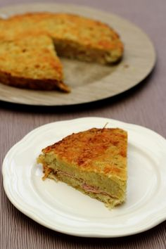 Gâteau de pommes de terre, oignons et bacon - 6SP Weight Watchers le quart de gâteau