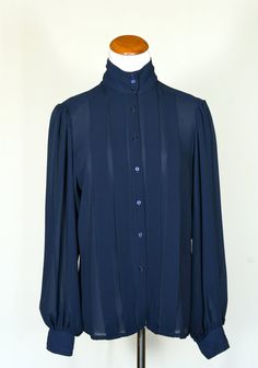 80s Vintage Pleated Blouse in Navy Blue by pinebrookvintage, $24.00