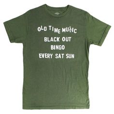 43289cb23 Old Time Music Blackout green T-shirt by Altru Apparel Soft Hands, Shoulder  Taping
