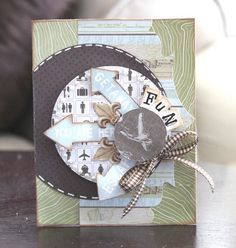Fun Traveler Card, by alicecarman Page Layout, Layouts, Bon Voyage Cards, Homemade Greeting Cards, Travel Cards, Stamping, Card Ideas, Card Making, Scrapbooking