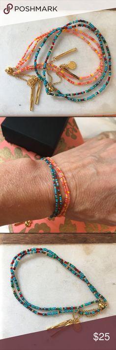 "Two beautiful Gorjana Friendship bracelets!! Two beautiful Gorjana ""Taner Dagger"" double strand Friendship bracelets - so perfect and on trend. Super pretty beads in beautiful spring summer colors. Gold plated slide closures. NWOT. Never worn! Gorjana Jewelry Bracelets"