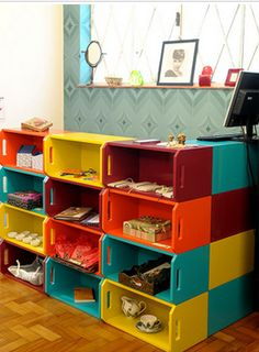 Very colorful . would be great for a kids room or anywhere u wold want color Deco Paint, Retail Store Design, Kids Boutique, Cozy Room, Storage Cabinets, Pallet Furniture, Home Organization, Shelving, Storage Shelves