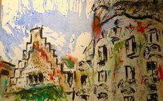 Gaudi pintura  a Barcelona# Cuadros sobre Gaudi a Barcelona#Pinturas sobre Barcelona# pinturas murales#