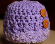 Infant Baby Newborn Girl Super Soft Chunky Crochet Hat with Wood Buttons Photo Prop Baby Shower Christmas Holiday Gift Lavender Purple by The Patchwork Nest, $17.00