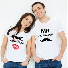 "T-shirt couple ""Monsieur j& raison / Madame j& toujours raison& Mrs Always Right, Mr Right, T-shirt Couple, Couple Tshirts, Madame, T Shirt, Couples, Tops, Women"