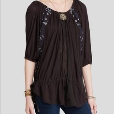 SALE!!! Free People New World Butterfly Tunic Super soft! Geometric/tribal embroidery, lace inset, with drawstrings at each hip for custom fit. Never been worn. Free People Tops Tunics