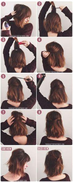 Short Hair Half Up via thebeautydepartment