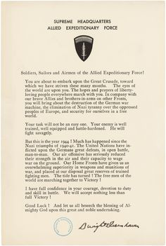 D-day statement to soldiers, sailor, and airmen of the Allied Expeditionary Force, 6/44 by Gen. Dwight D. Eisenhower