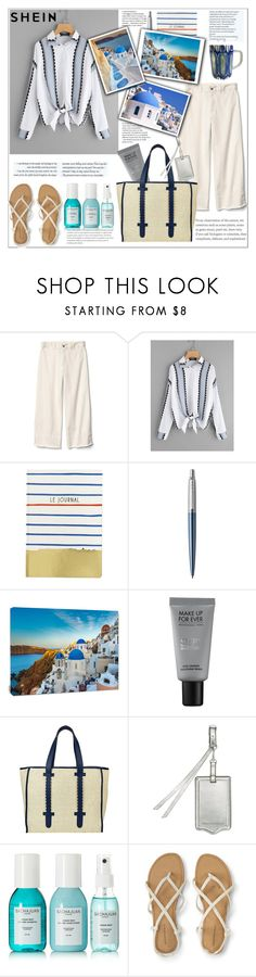 """Shein.Button Up Knotted Hem Shirt"" by natalyapril1976 ❤ liked on Polyvore featuring Gap, Abrams, Design Art, MAKE UP FOR EVER, Asha by ADM, Rebecca Minkoff and Sachajuan"