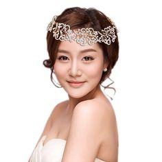 Bridal Wedding Hollow Leaf Flower Hair Headband Austrian Crystal Clear Gold Tone