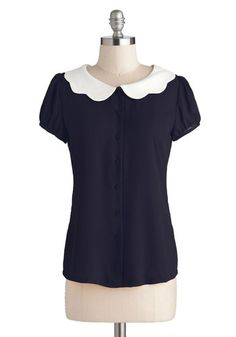 Backyard Betty Top in Midnight - Chiffon, Sheer, Woven, Mid-length, Exclusives, Private Label, Blue, White, Solid, Buttons, Peter Pan Collar, Scallops, Vintage Inspired, Short Sleeves, Collared