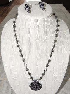 Beautiful handmade Black and silver necklace by GabiLuBoutique